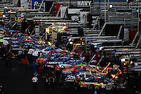 Apr 10, 2008; Avondale, AZ, USA; NASCAR Nationwide Series cars are worked on in the garage area during the NASCAR Camping World Series west  Jimmie Johnson Foundation 150 at Phoenix International Raceway. Mandatory Credit: Mark J. Rebilas-