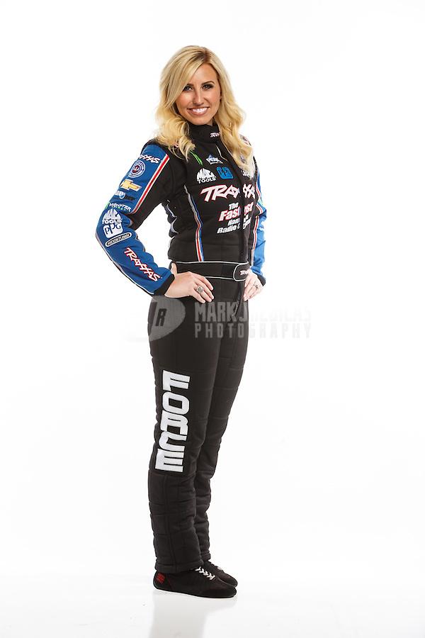 Feb 10, 2016; Pomona, CA, USA; NHRA funny car driver Courtney Force poses for a portrait during media day at Auto Club Raceway at Pomona. Mandatory Credit: Mark J. Rebilas-USA TODAY Sports