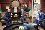 Palestinian President Mahmoud Abbas meets with Jordanian King Abdullah II, during his visiting, in Amman, Jordan on Aug. 08, 2018. Photo by Thaer Ganaim