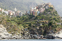 Una veduta di Corniglia, uno dei borghi delle Cinque Terre.<br /> A view of the village of Corniglia atop its cliff at the CinqueTerre.<br /> UPDATE IMAGES PRESS/Riccardo De Luca