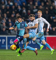 Scott Kashket of Wycombe Wanderers battles Jordan Turnbull of Coventry City during the The Checkatrade Trophy - EFL Trophy Semi Final match between Coventry City and Wycombe Wanderers at the Ricoh Arena, Coventry, England on 7 February 2017. Photo by Andy Rowland.