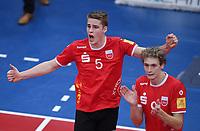 Volleyball 1. Bundesliga  Saison 2017/2018 TV Rottenburg - Hypo Tirol Alpen Volleys Haching     27.12.2017 JUBEL TV Rottenburg;  Timon Schippmann (li) und Lars Wilmsen