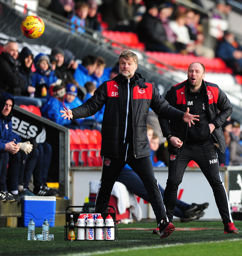 Fleetwood Town manager Steven Pressley, left, and Fleetwood Town&rsquo;s first team coach Neil MacFarlane<br /> <br /> Photographer Chris Vaughan/CameraSport<br /> <br /> Football - The Football League Sky Bet League One - Fleetwood Town v Scunthorpe United  - Saturday 20th February 2016 - Highbury Stadium - Fleetwood    <br /> <br /> &copy; CameraSport - 43 Linden Ave. Countesthorpe. Leicester. England. LE8 5PG - Tel: +44 (0) 116 277 4147 - admin@camerasport.com - www.camerasport.com