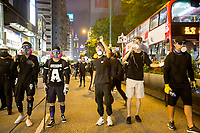 CHINA, Hong Kong: 10 August 2019 <br /> Pro-democracy protesters await the arrival of riot police in Tsim Sha Tsui district of Hong Kong. Demonstrators have taken to the streets of Hong Kong in protest of a controversial extradition bill since 9th of June which has resulted in several violent clashes.<br /> Rick Findler / Story Picture Agency