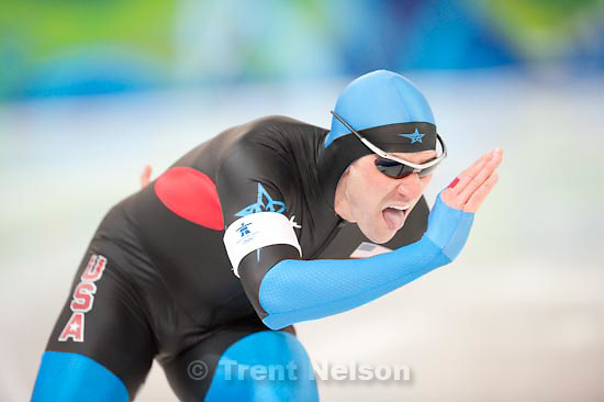 Trent Nelson  |  The Salt Lake Tribune.Men's 1000 Meter Speed Skating, at the XXI Olympic Winter Games in Vancouver, Wednesday, February 17, 2010. chad hedrick