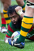 Simon Lemalu punches the air after scoring Waiuku's first try. Counties Manukau McNamara Cup Premier Club Rugby final between Pukekohe andWaiuku, held at Bayer Growers Stadium, on Saturday July 17th. Waiuku won 25 - 20.