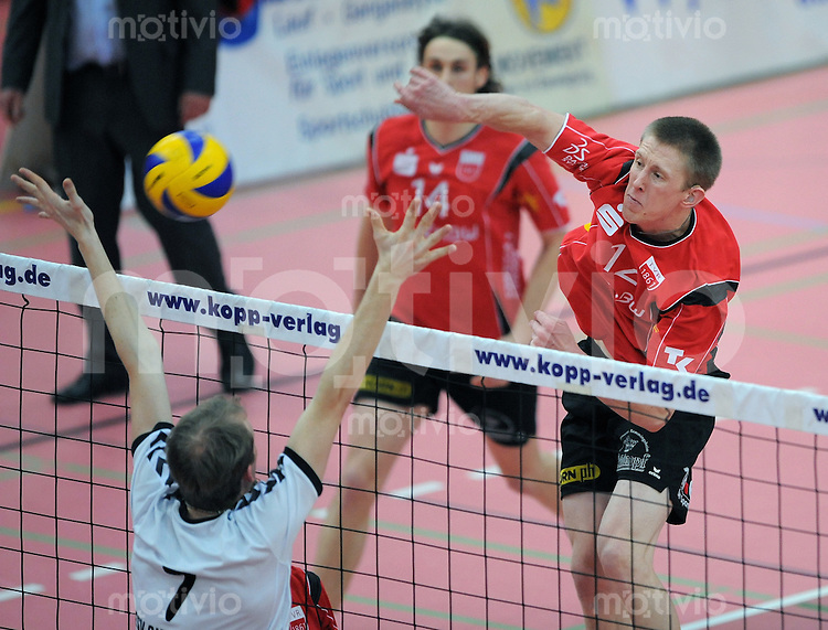 Volleyball  1. Bundesliga  2008/200909.03.2009 ENBW TV Rottenburg  - TSV Giesen/Hildesheim David Smith (re, TV R) gegen Alexander Schnipkowei (Giesen)