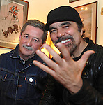 OTHER VOCIE DINGLE: One of the world's greatest record producers Canadian Daniel Lanois (who has worked with Bob Dylan, U2, Emmylou Harris and many more) pictured with Philip King, RTE producer of  Other Voices which was recording their third programme in Dingle at the weekend. <br /> Picture by Don MacMonagle