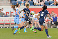 Bridgeview, IL, USA - Sunday, May 29, 2016: Sky Blue FC forward Tasha Kai (32) is chased by Chicago Red Stars defender Katie Naughton (5) during a regular season National Women's Soccer League match between the Chicago Red Stars and Sky Blue FC at Toyota Park. The game ended in a 1-1 tie.