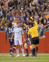 The referee awards Colorado Rapids forward Jovan Kirovski (7) a yellow card. The New England Revolution defeated the Colorado Rapids, 1-0, at Gillette Stadium in Foxboro, MA on September 29, 2007.