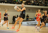 10.09.2017 Silver Ferns Gina Crampton in action during the Taini Jamison Trophy match between the Silver Ferns and England at Pettigrew Green Arena in Napier. Mandatory Photo Credit ©Michael Bradley.