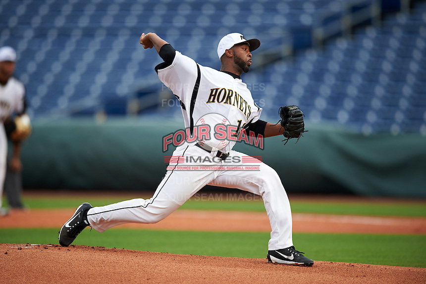 Alabama State Hornets starting pitcher Brandon Caples (13) delivers a pitch during a game against the Ball State Cardinals on February 18, 2017 at Spectrum Field in Clearwater, Florida.  Ball State defeated Alabama State 3-2.  (Mike Janes/Four Seam Images)