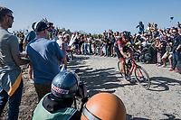 Daniel Oss (ITA/BMC) is leading the race solo<br /> <br /> 115th Paris-Roubaix 2017 (1.UWT)<br /> One Day Race: Compi&egrave;gne &rsaquo; Roubaix (257km)