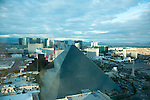 late afternoon in Las Vegas, view from THEhotel to Luxor