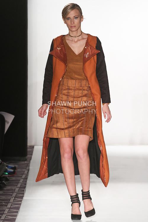 """Model walks runway in an outfit from the Adriana Carolina Fall Winter 2015-2016 """"Floresta"""" collection, during the Emerging Designers Fall Winter 2015 fashion show for  Fashion Gallery New York Fashion Week Fall 2015."""
