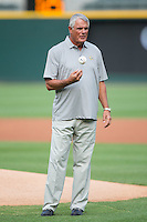 Former Major League player and manager Lou Piniella prepares to throw out a ceremonial first pitch prior to the International League game between the Syracuse Chiefs and the Charlotte Knights at BB&T BallPark on June 1, 2016 in Charlotte, North Carolina.  The Knights defeated the Chiefs 5-3.  (Brian Westerholt/Four Seam Images)