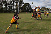 Tominito Taufui throws to a line out. Counties Manukau Premier Club rugby game between Te Kauwhata and Onewhero, played at Te Kauwhata on Saturday April 16th 2016. Onewhero won the game 37 - 0 after leading 13 - 0 at Halftime. Photo by Richard Spranger.