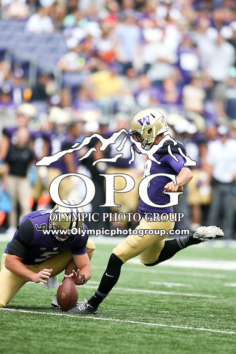 03 September 2016: Washington's Cameron Van Winkle against Rutgers.  Washington defeated Rutgers 48-13 at the University of Washington in Seattle, WA.