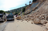 Pictured: Rocks and debris have slid onto a road in Plomari, Lesbos, Greece. Monday 12 June 2017<br /> Re: A strong earthquake has rocked the Greek island of Lesbos, injuring 10 people and damaging dozens of homes at the Brit tourist hotspot.<br /> The magnitude 6.2 quake struck off the coast of western Turkey close to the islands of Samos and Lesbos, which are hugely popular with holidaymakers.