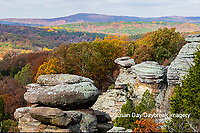 63895-16201 Camel Rock in fall color Garden of the Gods Recreation Area Shawnee National Forest IL