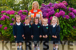 Class teacher Michelle Murphy with her new junior infants Grace O'Sullivan, Shay Buckley, Clodagh O'Connor and Daniel Lenihan on their first day of school in Shrone NS last Thursday.