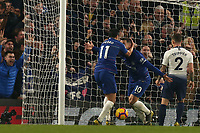 Pedro of Chelsea is congratulated after scoring the first goal during Chelsea vs Tottenham Hotspur, Premier League Football at Stamford Bridge on 27th February 2019
