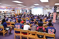 MIAMI, FL - SEPTEMBER 20: BankUnited Vice President of Community Development & Outreach Katrina Wright talking to the Miramar Patriots varsity football team prior to a surprise visit from Miami Dolphins Wide Receiver (#14) Jarvis Landry as part of the 4 Downs for Finance financial literacy program sponsored by BankUnited. Landry share his thoughts on the importance of financial literacy at Miramar High School Media Center on September 20, 2016 in Miramar, Florida. Credit: MPI10 / MediaPunch