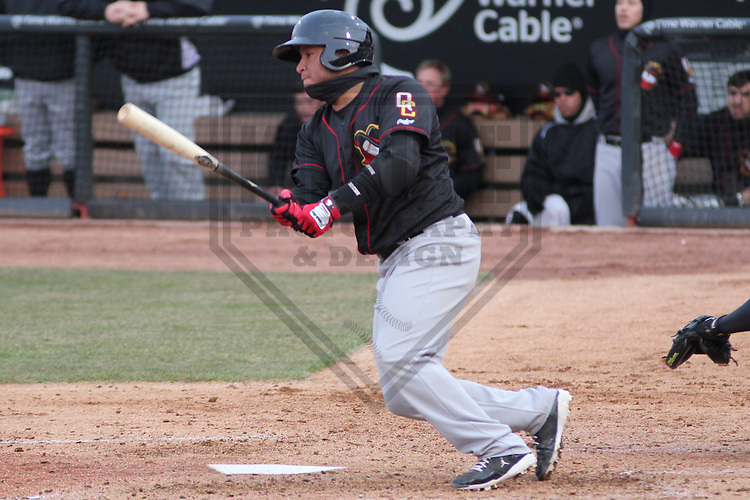 GRAND CHUTE - April 2013: Roberto Pena (10) of the Quad Cities River Bandits, Class-A affiliate of the Houston Astros, during a game against the Wisconsin Timber Rattlers on April 21, 2013 at Time Warner Cable Field at Fox Cities Stadium in Grand Chute, Wisconsin. (Photo by Brad Krause).