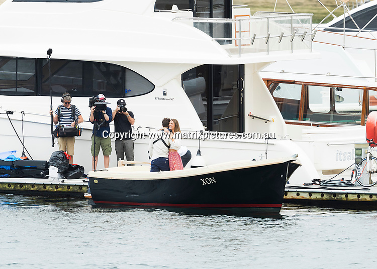 10 MARCH 2017 SYDNEY AUSTRALIA<br /> WWW.MATRIXPICTURES.COM.AU<br /> <br /> EXCLUSIVE PICTURES<br /> <br /> Bachelor Matty J pictured on a solo date with a Kate Middleton look a like. The date involved Matty arriving on a small tender to the Middle Harbour Marina to pick up his date then motoring up Middle Harbour where the pair boarded a super yacht for a picnic on the bow. <br /> <br /> Note: All editorial images subject to the following: For editorial use only. Additional clearance required for commercial, wireless, internet or promotional use.Images may not be altered or modified. Matrix Media Group makes no representations or warranties regarding names, trademarks or logos appearing in the images.