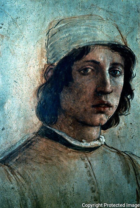 Renaissance Art:  Filippo Lippi (1457-1504)--Self-portrait.  Galleria Uffizi.