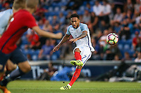 Lewis Baker (Vitesse Arnhem, loan from Chelsea) of England hits a free kick  during the International EURO U21 QUALIFYING - GROUP 9 match between England U21 and Norway U21 at the Weston Homes Community Stadium, Colchester, England on 6 September 2016. Photo by Andy Rowland / PRiME Media Images.