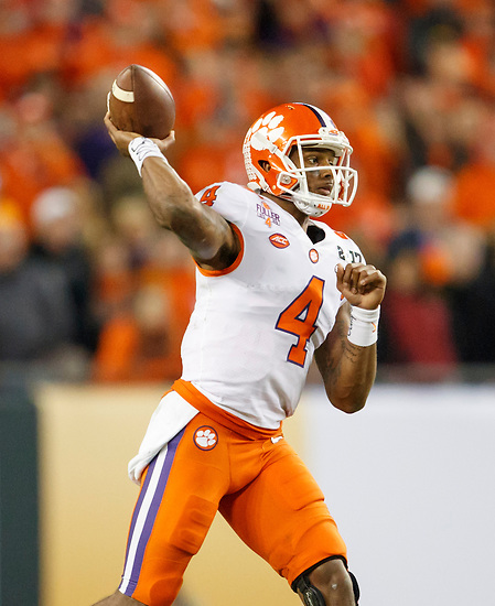 JANUARY 9, 2017: Clemson QB Deshaun Watson delivers a pass during Clemson's 35-31 victory over Alabama in the 2017 College Football Playoff National Championship game at Raymond James Stadium. (Photo by Matt May)