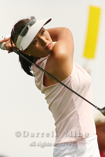 March 27, 2005; Rancho Mirage, CA, USA;  Grace Park tees off at the 11th hole during the final round of the LPGA Kraft Nabisco golf tournament held at Mission Hills Country Club.  Park finished the day with a 5 under par 67 and finished tied for 5th with an overall score of 4 under par 284.<br />