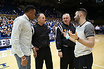 DURHAM, NC - JANUARY 29: Injured Notre Dame players Bonzie Colson (left) and Matt Farrell (right) talk with referees Mike Eades and James Luckie before the game. The Duke University Blue Devils hosted the University of Notre Dame Fighting Irish on January 29, 2018 at Cameron Indoor Stadium in Durham, NC in a Division I men's college basketball game. Duke won the game 88-66.