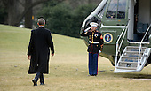 United States President Barack Obama walks out of the residence toward Marine One while departing the White House, on February 10, 2016 in Washington, DC. President Obama is traveling to Springfield, Illinois where he will address the Illinois General Assembly.<br /> Credit: Olivier Douliery / Pool via CNP