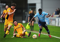 Blackpool's Bright Osayi-Samuel under pressure from Newport County's Tom Owen-Evans<br /> <br /> Photographer Kevin Barnes/CameraSport<br /> <br /> The EFL Sky Bet League Two - Saturday 18th March 2017 - Newport County v Blackpool - Rodney Parade - Newport<br /> <br /> World Copyright &copy; 2017 CameraSport. All rights reserved. 43 Linden Ave. Countesthorpe. Leicester. England. LE8 5PG - Tel: +44 (0) 116 277 4147 - admin@camerasport.com - www.camerasport.com