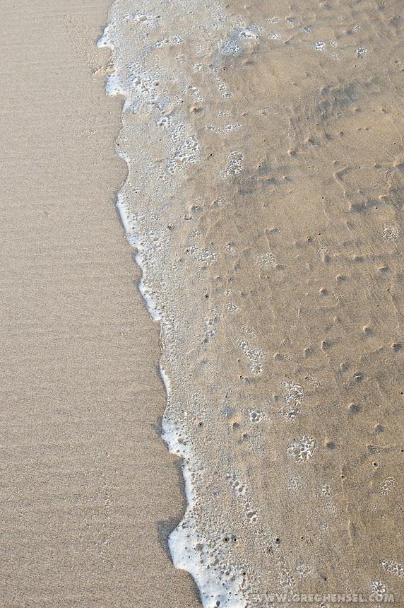 Close- up of Sea foam on a beach along the Oregon Coast.
