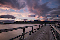 Sunset over pier at Saltoluokta Fjällstation, Kungsleden trail, Lapland, Sweden