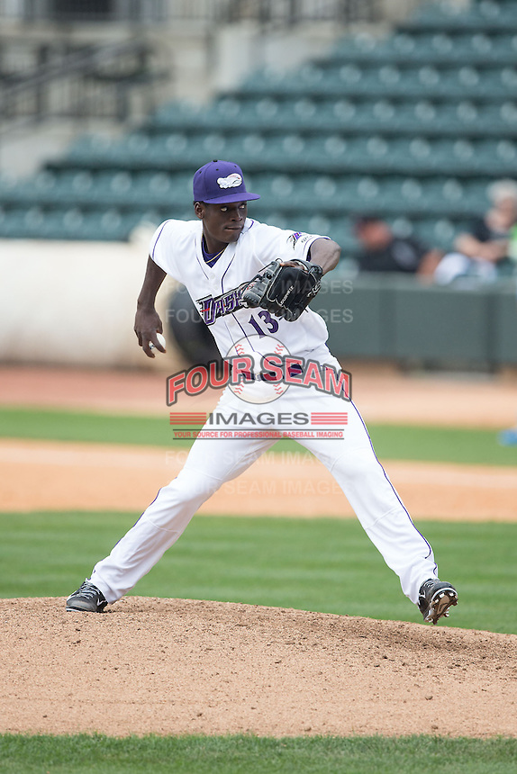 Winston-Salem Dash starting pitcher Robinson Leyer (13) in action against the Myrtle Beach Pelicans at BB&T Ballpark on May 10, 2015 in Winston-Salem, North Carolina.  The Pelicans defeated the Dash 4-3.  (Brian Westerholt/Four Seam Images)