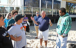 Point Pleasant Beach, NJ Mayor Stephen D. Reid (C) speaks to volunteers as John Meehan (C) Area Manager, External Affairs for Jersey Central Power & Light joins him at the JCP&L sponsored Beach Sweep in Point Pleasant Beach, New Jersey 10/21/17.
