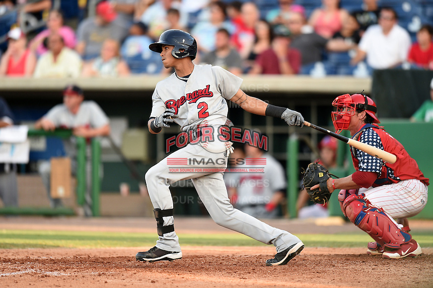 Brevard County Manatees  shortstop Orlando Arcia (2) at bat during a game against the Clearwater Threshers on June 28, 2014 at Bright House Field in Clearwater, Florida.  Brevard County defeated Clearwater 6-4.  (Mike Janes/Four Seam Images)