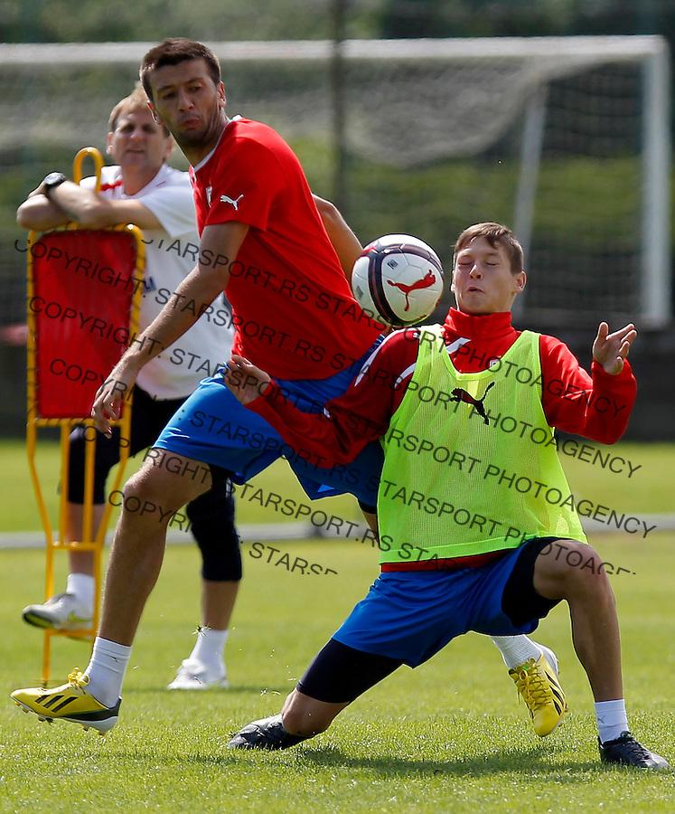 Fudbal season 2012-2013<br /> FK Crvena Zvezda <br /> Trening<br /> Marko Miric and Nikola Ahcin<br /> Brezice, 01.07.2013.<br /> foto: Srdjan Stevanovic/Starsportphoto &copy;