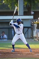 Jonathan McCray (3) of the Burlington Royals at bat against the Princeton Rays at Burlington Athletic Stadium on June 24, 2016 in Burlington, North Carolina.  The Rays defeated the Royals 16-2.  (Brian Westerholt/Four Seam Images)
