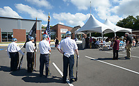 NWA Democrat-Gazette/ANDY SHUPE<br /> Members of the Honor Guard from American Legion Post 100 in Rogers prepare Tuesday, Sept. 11, 2018, to post the colors during a dedication ceremony for the Leroy Pond Residential Treatment Facility at Veterans Health Care System of the Ozarks in Fayetteville. The facility offers 20 beds 20-beds and inpatient care for veterans who are facing substance abuse and co-occurring mental illness and homelessness.