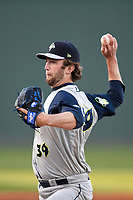 Starting pitcher Chris Viall (39) of the Columbia Fireflies struck out a career-high 11 batters to earn a 7-1 win against the Greenville Drive on Monday, April 16, 2018, at Fluor Field at the West End in Greenville, South Carolina. (Tom Priddy/Four Seam Images)