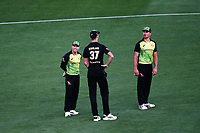 David Warner, Billy Stanlake and Marcus Stoinis of Australia look on. New Zealand Black Caps v Australia, Final of Trans-Tasman Twenty20 Tri-Series cricket. Eden Park, Auckland, New Zealand. Wednesday 21 February 2018. © Copyright Photo: Anthony Au-Yeung / www.photosport.nz