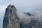Cloud and granite spire atop Sentinel Rock, Yosemite Valley, Yosemite National Park, California