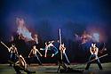 """London, UK. 26.02.2014. Cloud Gate Theatre of Taiwan present """"Fire"""" in RICE at Sadler's Wells Dance House. Picture shows: Chen Wei-an, Hou Tang-li, Lai Chun-wei, Lee Tsung-hsuan, Lin Hsin-fang, Tsai Ming-yuan, Wang Po-nien, Wong Lap-cheong, Yu Chien-hung. Photograph © Jane Hobson."""