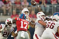 NWA Democrat-Gazette/BEN GOFF @NWABENGOFF<br /> Ben Hicks, Arkansas quarterback, throws the ball in the first quarter vs Ole Miss Saturday, Sept. 7, 2019, at Vaught-Hemingway Stadium in Oxford, Miss.