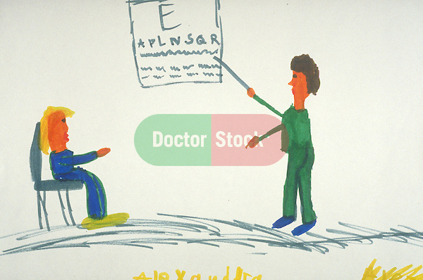 child's rudimentary drawing of girl reads eye chart for doctor